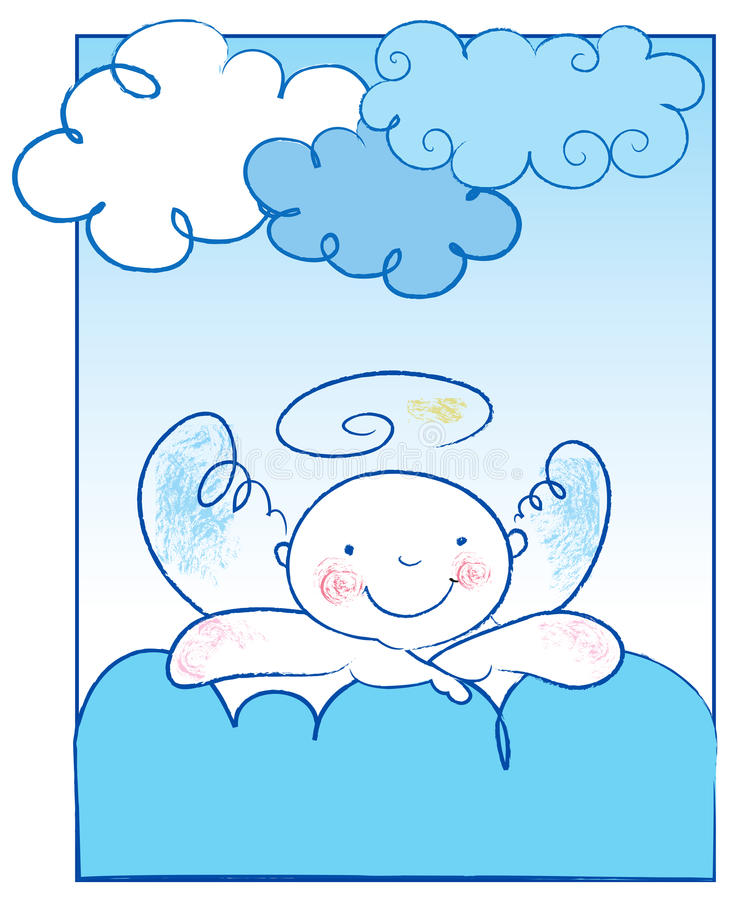 Download Baby Angel Leans On A Cloud Stock Vector - Image: 25447804