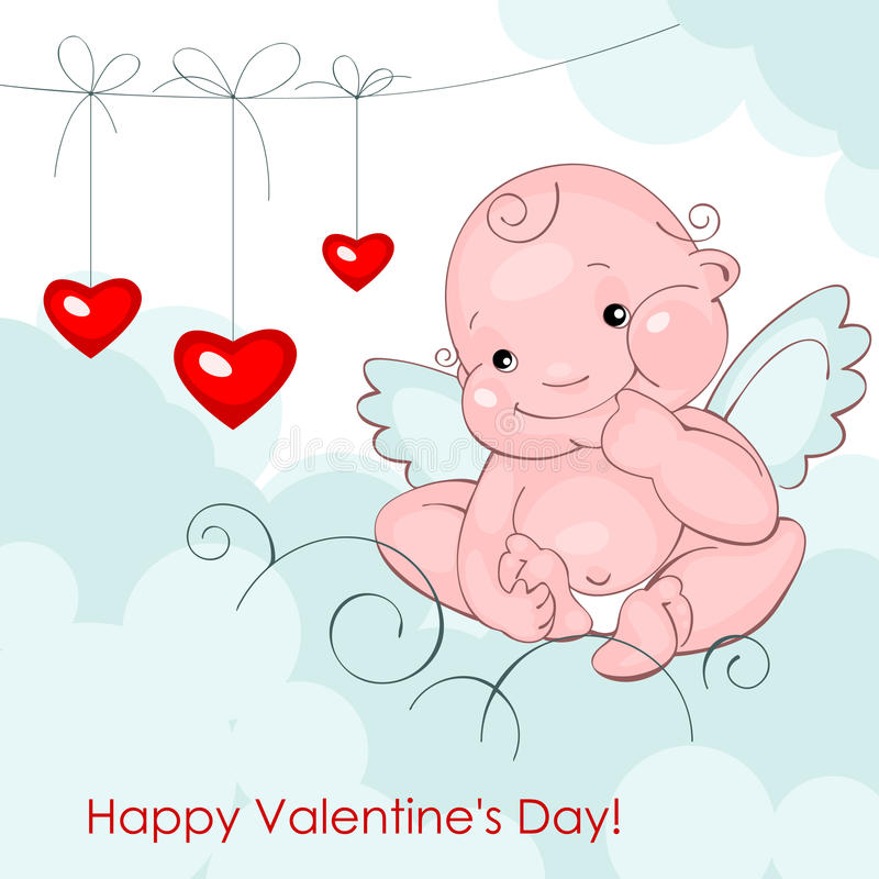 Download Baby Angel With Three Hearts Stock Vector - Illustration of love, baby: 22976690