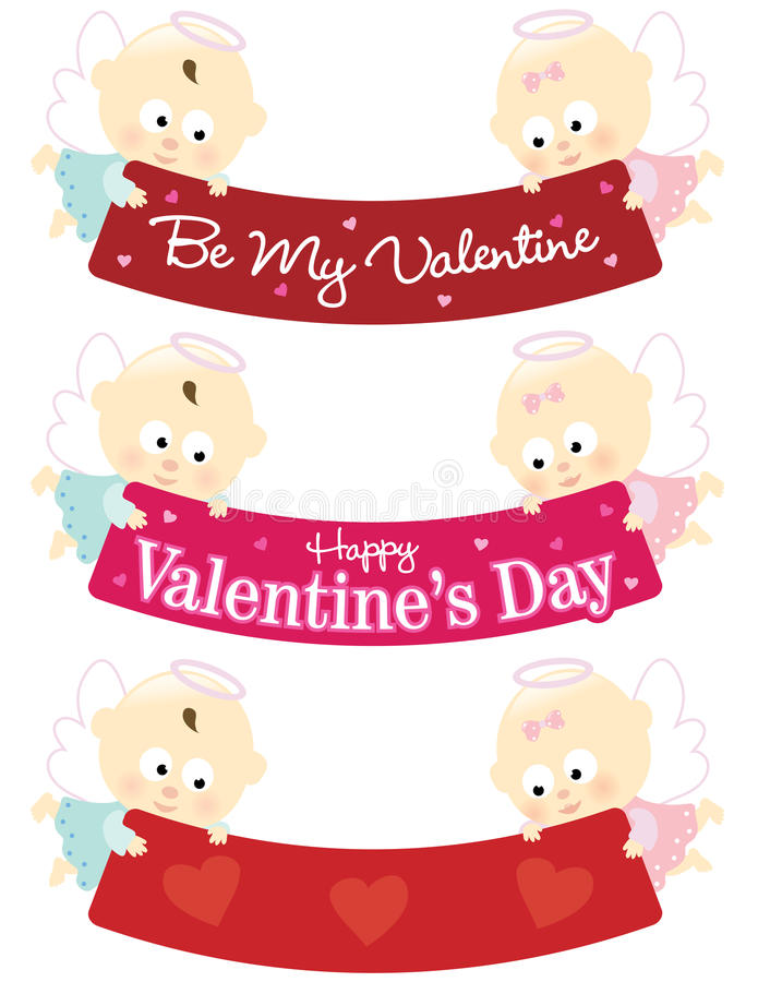 Download Baby Angels Holding Valentine Banners Isolated Set Stock Vector - Image: 12666303
