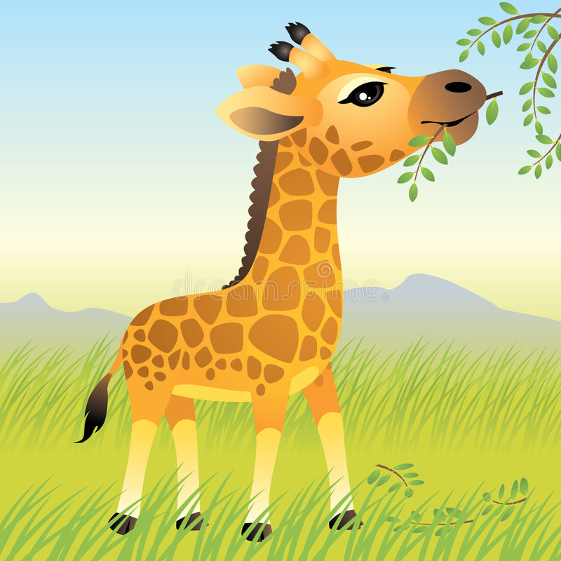 Baby Animal collection: Giraffe vector illustration