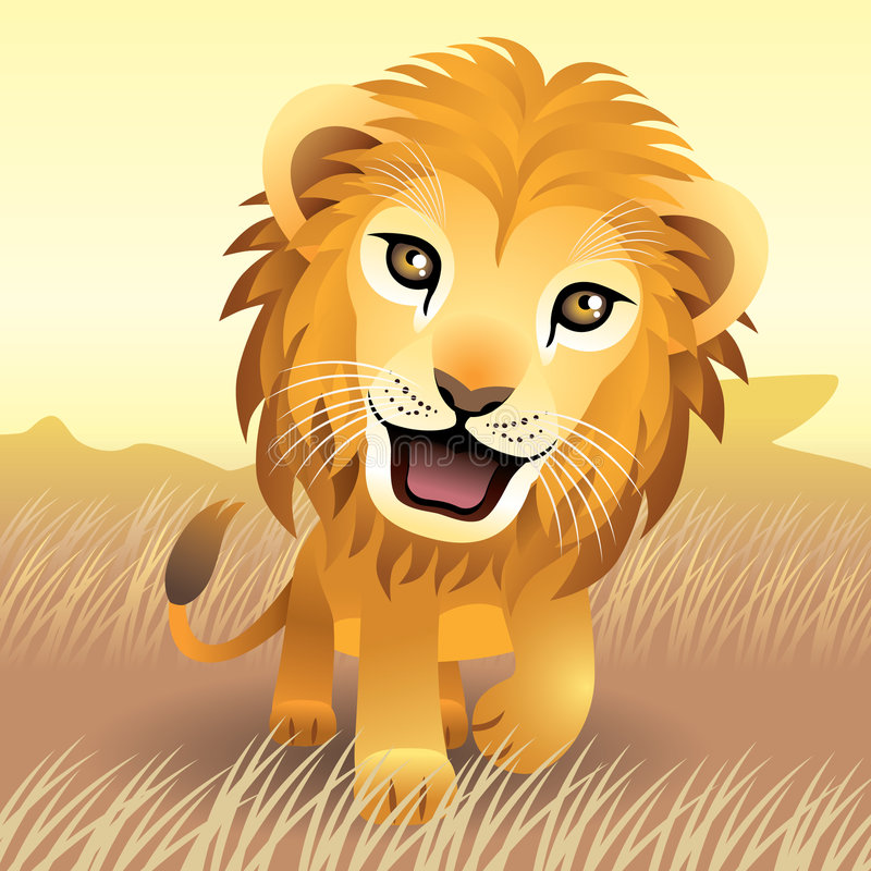 Baby Animal collection: Lion royalty free illustration