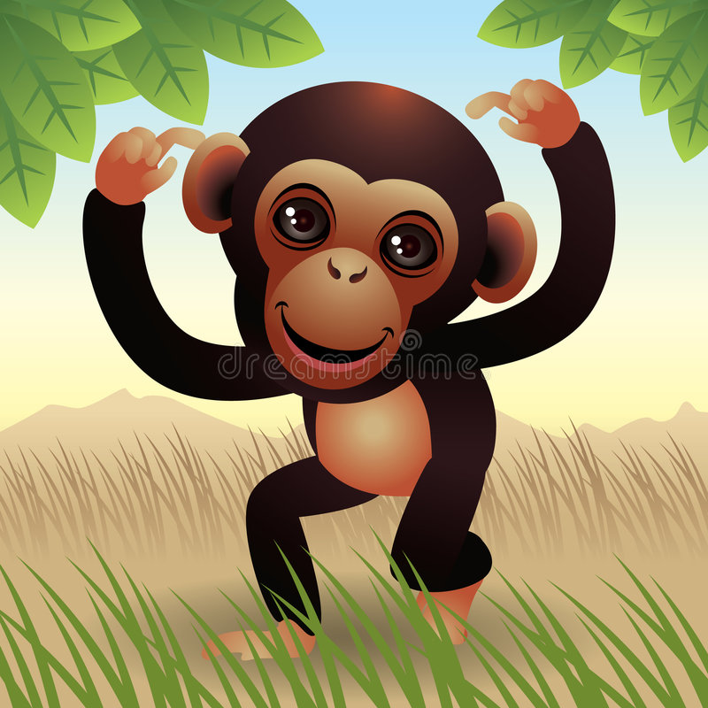 Baby Animal collection: Monkey vector illustration