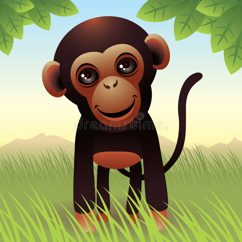 Baby Animal collection: Monkey royalty free illustration