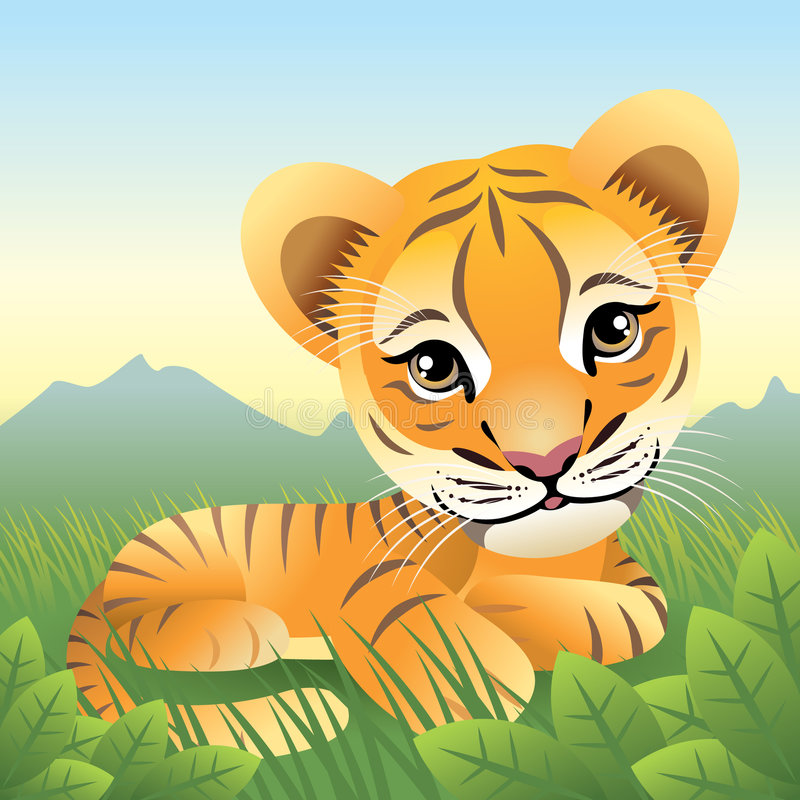 Baby Animal collection: Tiger. Illustration of a sweet baby tiger. Similar animals in my portfolio royalty free illustration