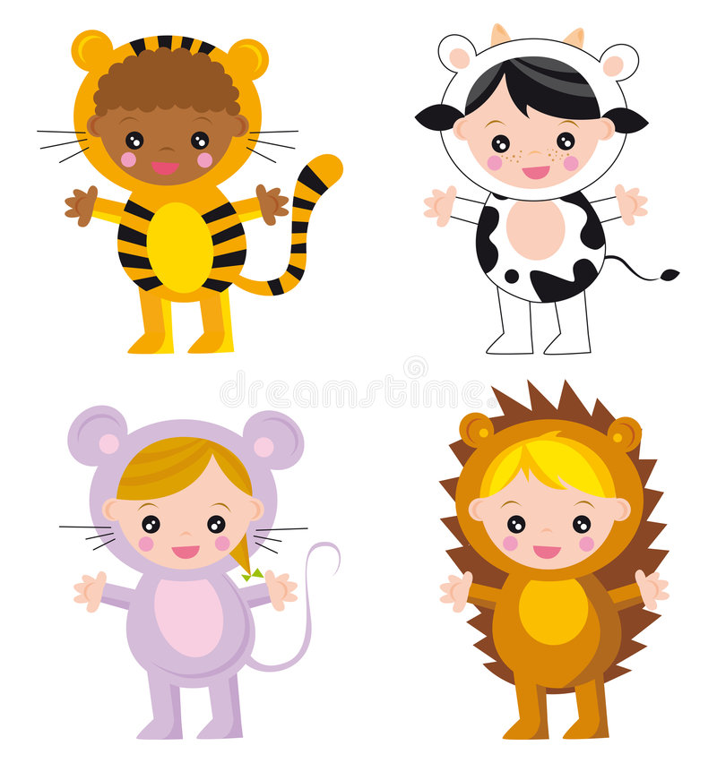 Baby animals. Illustration of four cute babies-animals: tiger, cow, mouse and curly