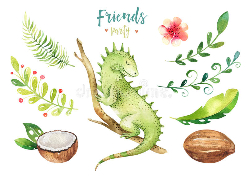 Baby animals nursery isolated illustration for children. Watercolor boho tropical drawing, child cute tropic iguana stock illustration