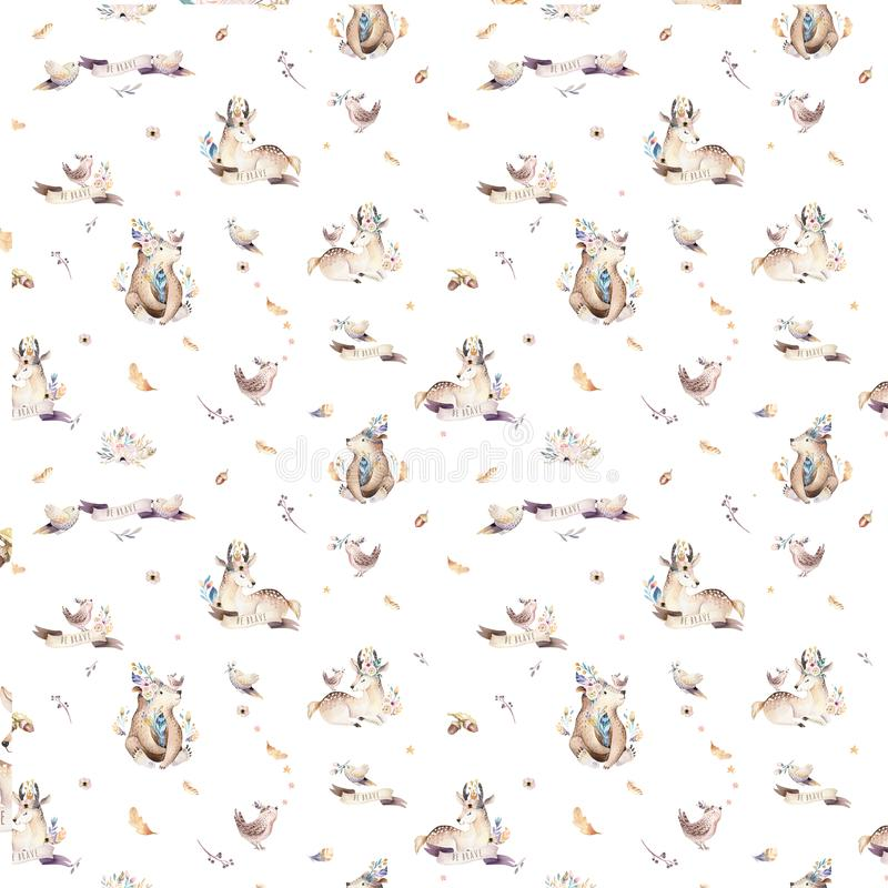 Baby animals nursery isolated seamless pattern with bannies. Watercolor boho cute baby fox, deer animal woodland rabbit. Baby animals nursery isolated seamless royalty free stock photos