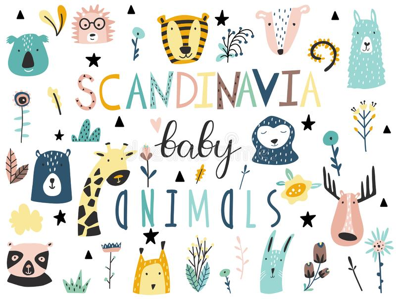 Baby animals, plants, flowers and other elements collection. Scandinavian style royalty free illustration