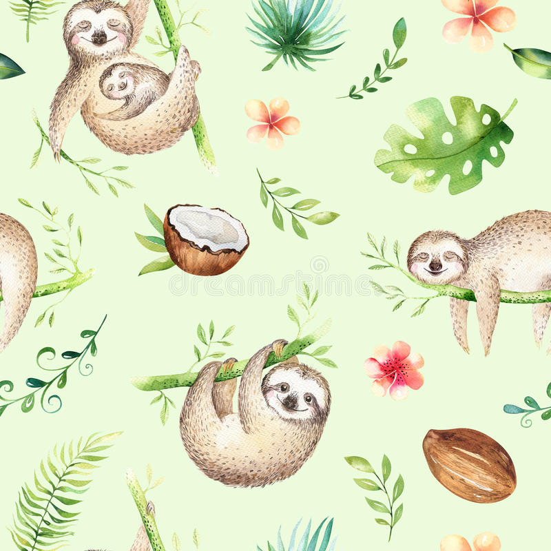 Baby animals sloth nursery seamless pattern painting. Watercolor boho tropical drawing, child tropical drawing. Baby animals sloth nursery seamless pattern vector illustration