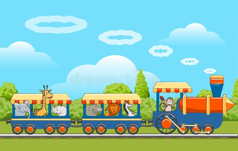 Baby animals train vector illustration