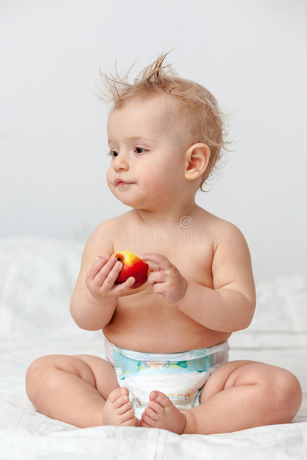 Download Baby with apple stock photo. Image of infant, child, pretty - 26412822
