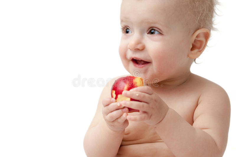 Download Baby with apple stock photo. Image of snack, portrait - 26412884