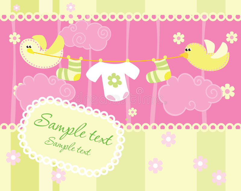 Baby Arrival Announcement Card Royalty Free Stock Images