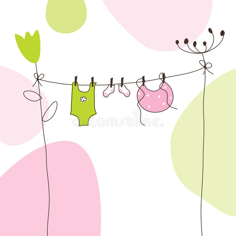 Baby arrival announcement card royalty free illustration