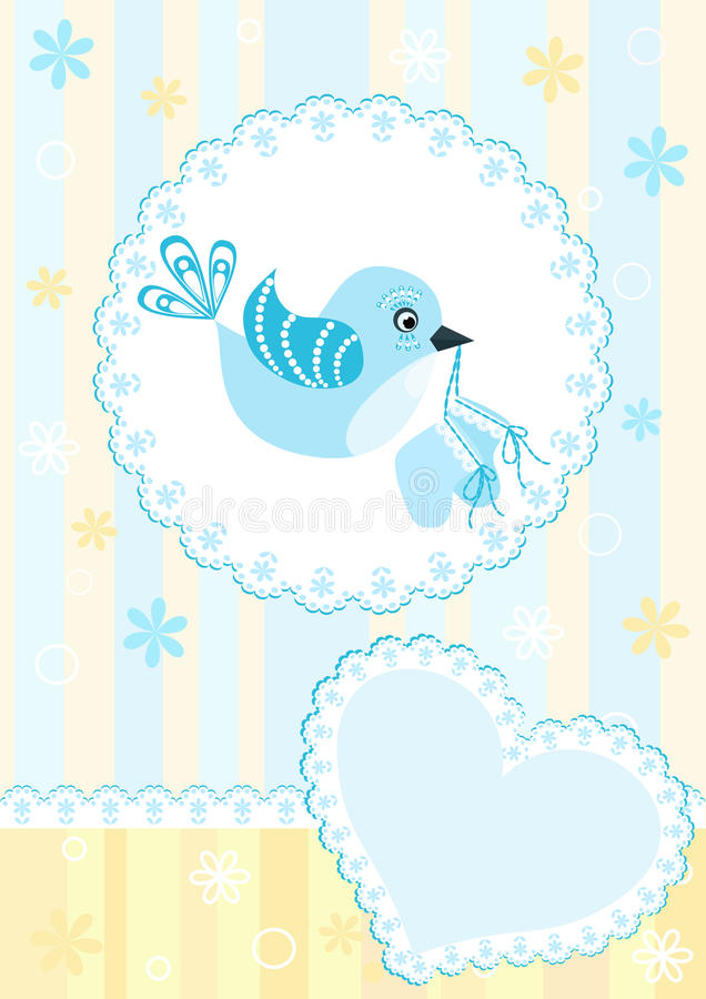 Download Baby Arrival Card. Blue Bird. Stock Image - Image: 14936761