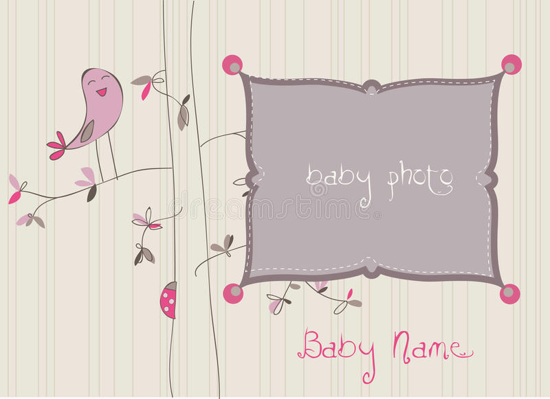 Baby Arrival Card with Photo Frame royalty free illustration