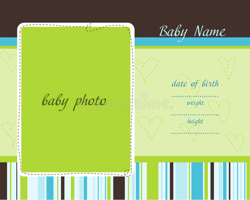Download Baby Arrival Card With Photo Frames Royalty Free Stock Image - Image: 18157706