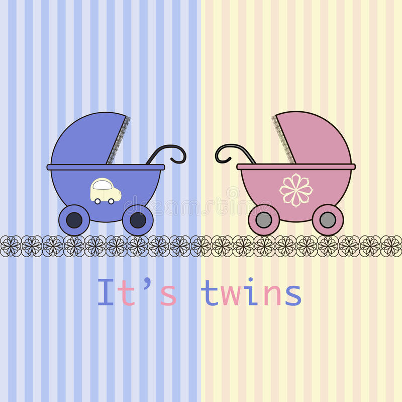 Baby arrival card twins. Boy and girl stock illustration
