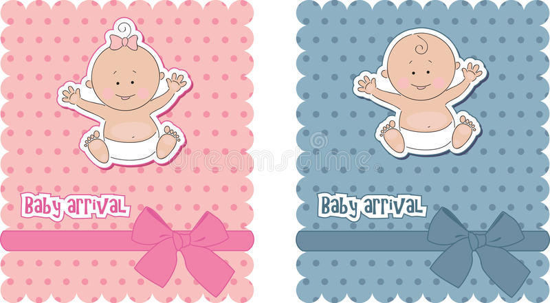 Download Baby arrival cards stock vector. Image of blue, image - 19893095