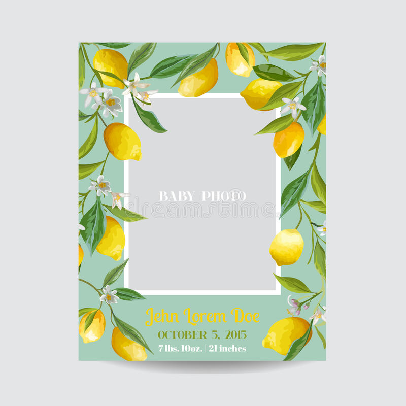 Baby Arrival or Shower Card - with Photo Frame and Floral Lemon vector illustration