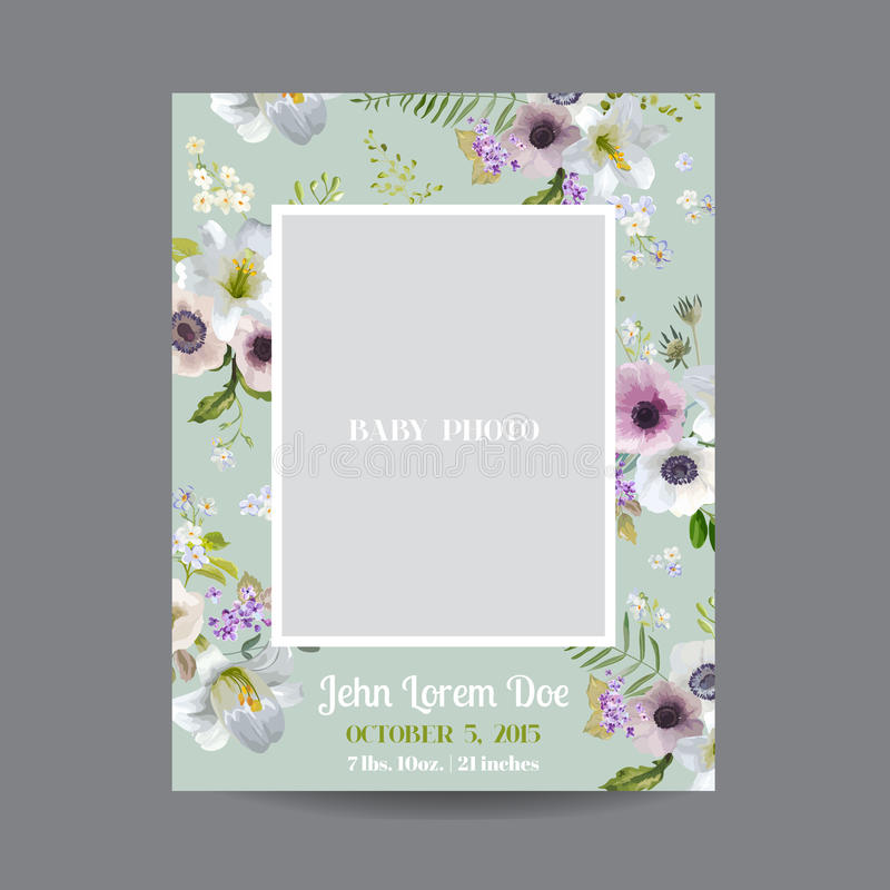 Baby Arrival or Shower Card - with Photo Frame and Vintage Lily. Blossom Design - in vector vector illustration