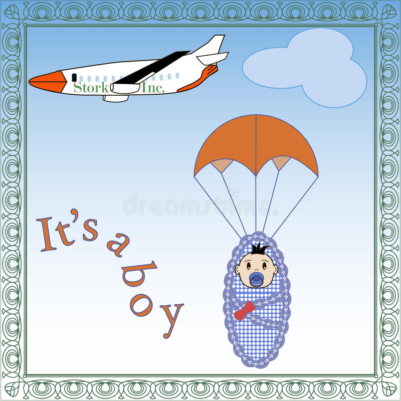 Baby arrival. Vector illustration of plane and baby with a parachute vector illustration