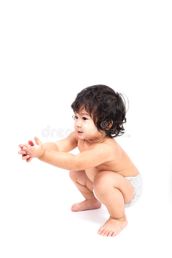 Baby asian boy diaper stock images