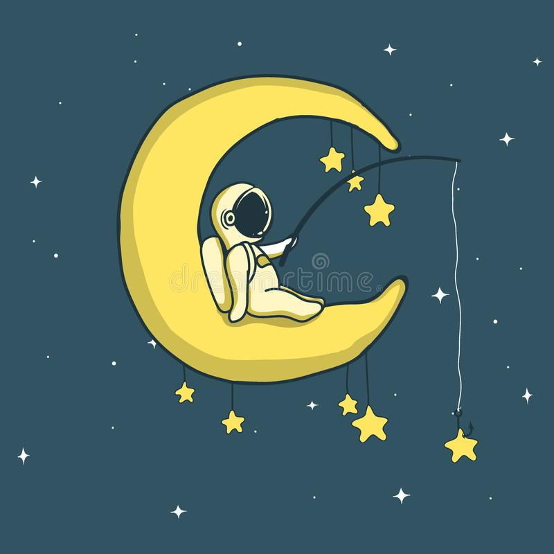 Baby astronaut catches stars on crescent moon royalty free illustration