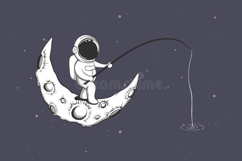 Baby astronaut fishing on the Moon vector illustration