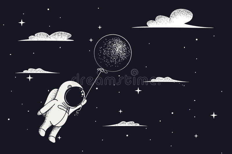 Baby-astronaut fly with balloon royalty free illustration