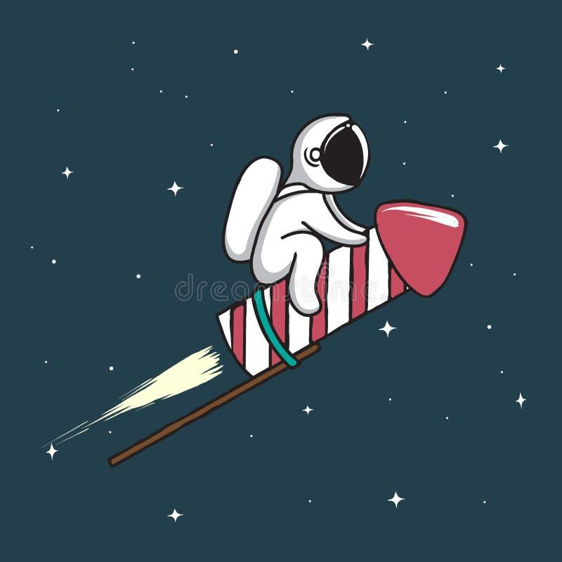 Baby astronaut flying on firework rocket vector illustration