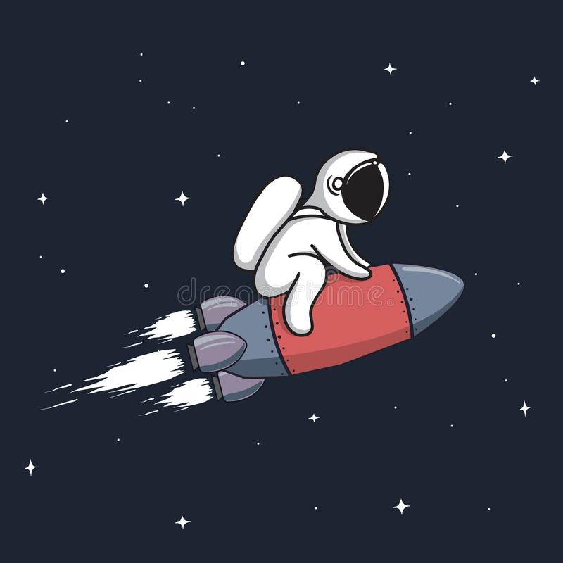 Baby astronaut flying on rocket stock illustration