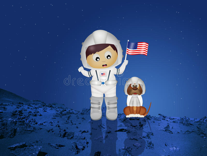 Baby astronaut with puppy royalty free illustration