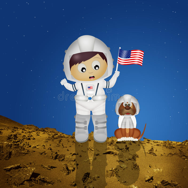 Baby astronaut with puppy stock illustration