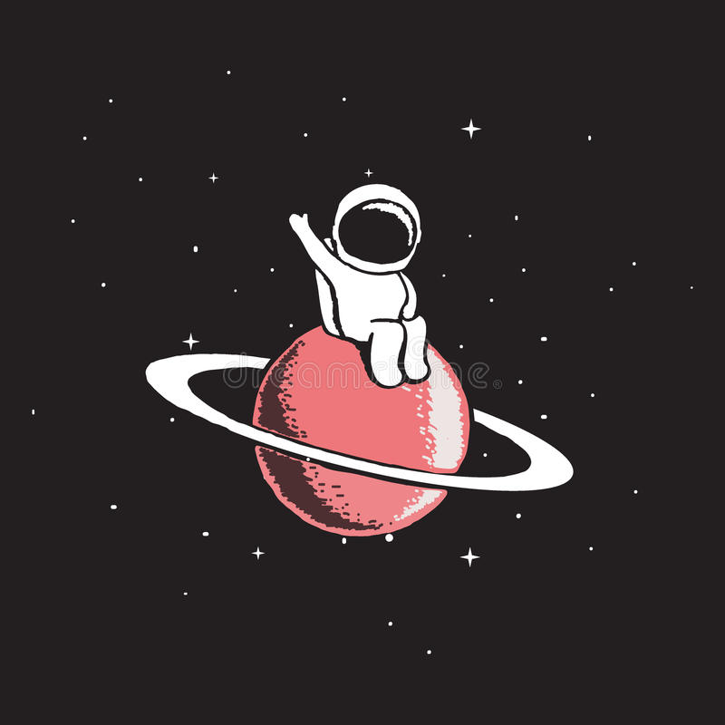 Baby astronaut sits on Saturn. And welcomes us.Cosmic character.Space theme vector illustration.Spaceman explore a new planet royalty free illustration