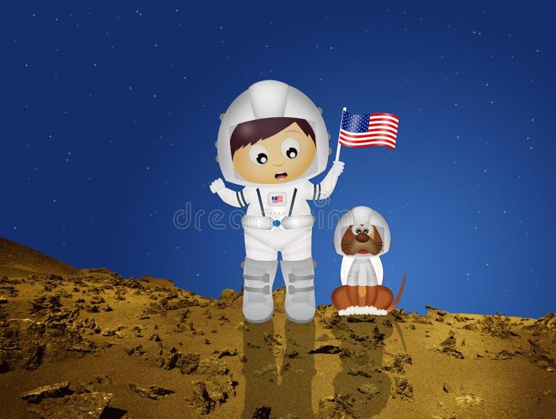 Baby astronaut to Mars vector illustration