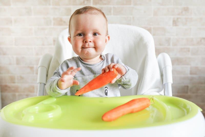 Baby att äta grönsaker F?rsta fasta mat f?r ung unge Ny organisk morot f?r gr?nsaklunch Sund n?ring f?r barn royaltyfria bilder