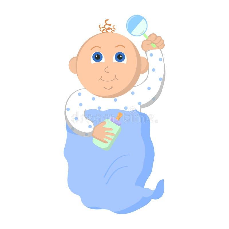 Baby auf weißem Hintergrund lizenzfreie abbildung