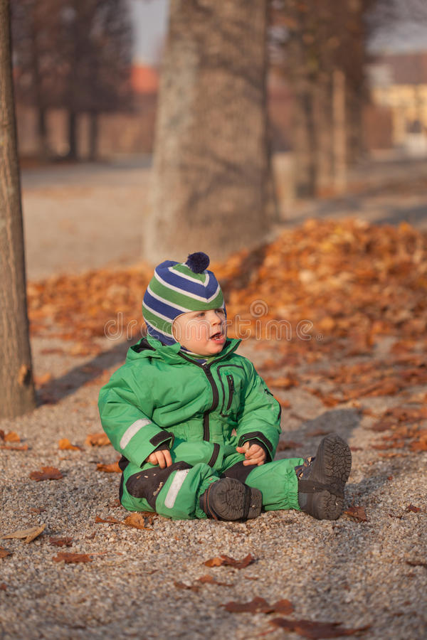 Baby in autumn park royalty free stock image