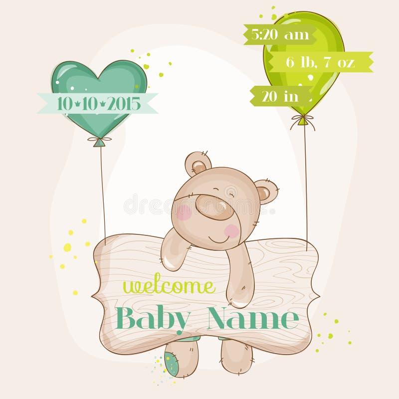 Baby-Bär mit Ballonen lizenzfreie abbildung