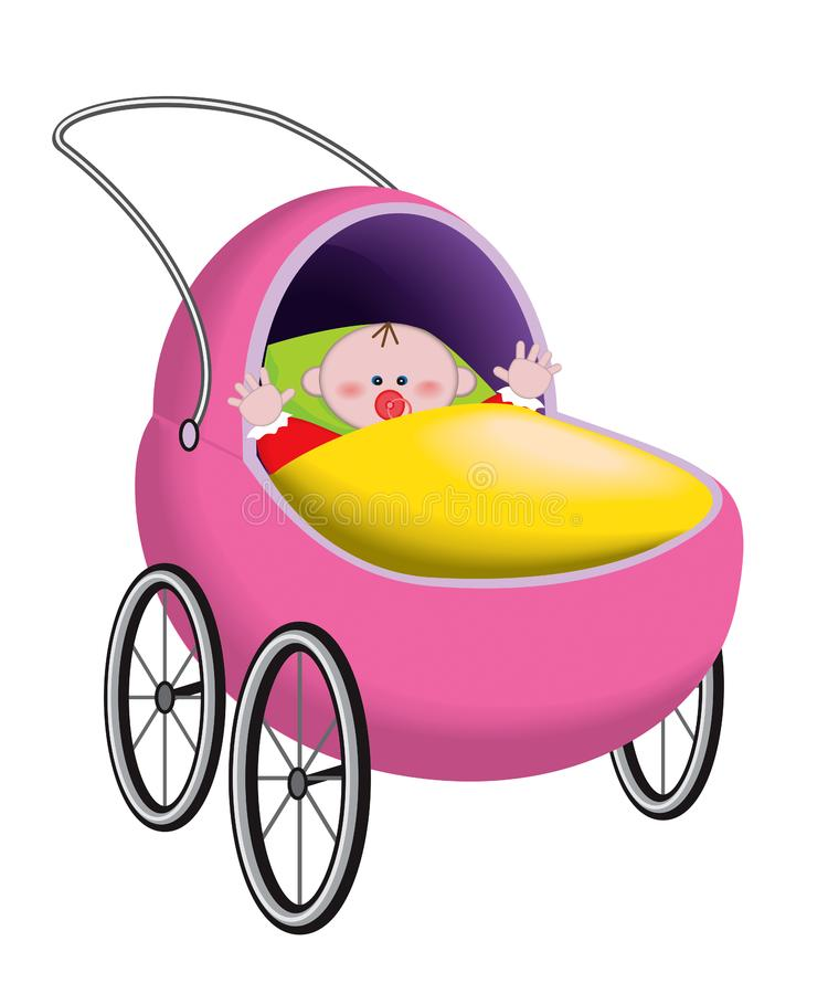 Download Baby in baby carriage stock vector. Illustration of childhood - 19096020