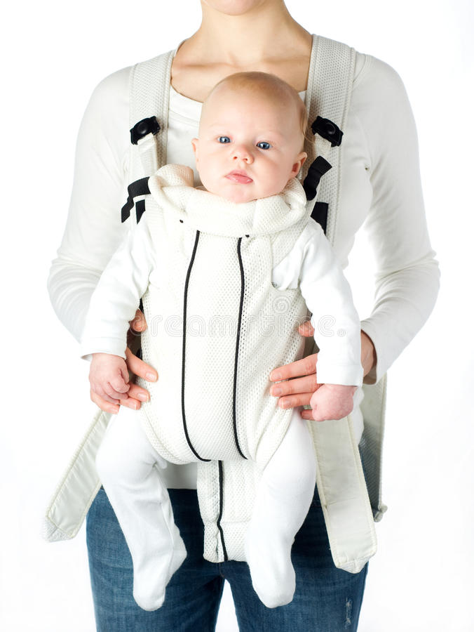 Baby in babydrager royalty-vrije stock foto