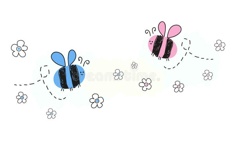 Baby-Babysymbole des Babys neugeborene mit Biene stock abbildung