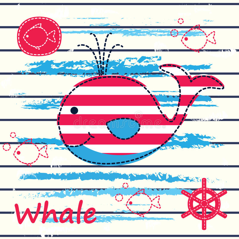 Baby background with cute whale vector illustration