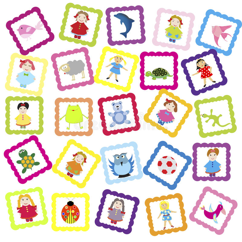 Baby background with various toys stock illustration