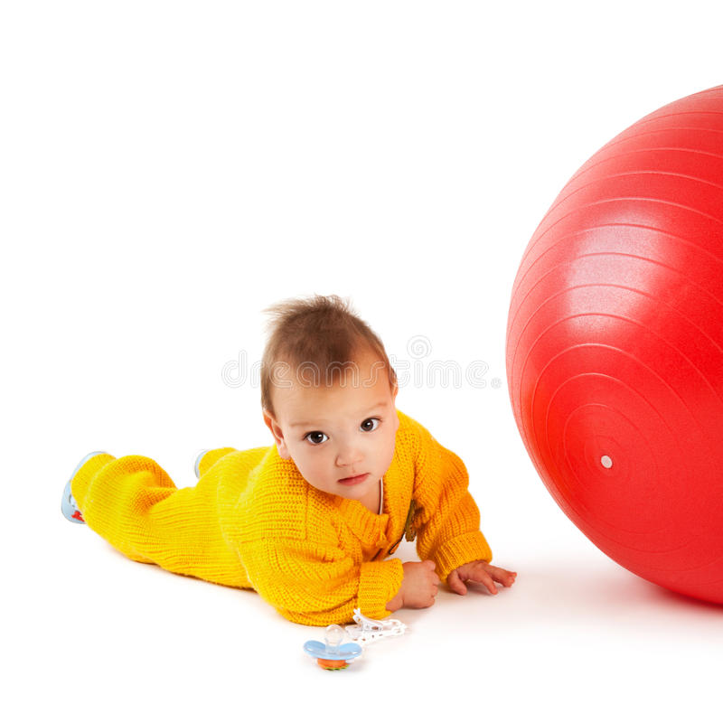 Download Baby with ball stock image. Image of human, funny, positivity - 23934161