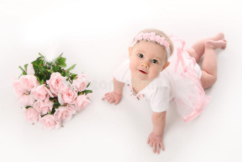 Baby ballerina with pink roses stock photo