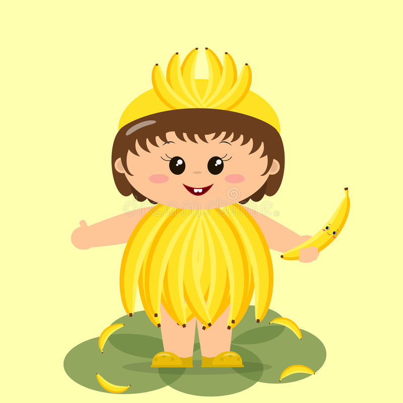 Download Baby in a banana costume. stock vector. Illustration of happiness - 97150855  sc 1 st  Dreamstime.com & Baby in a banana costume. stock vector. Illustration of happiness ...