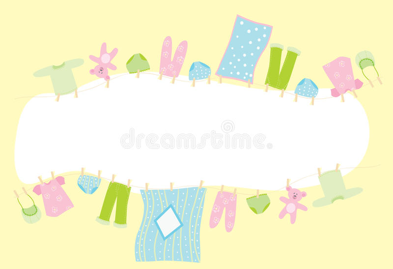 Baby banner. Children's underwear drying on the rope vector illustration