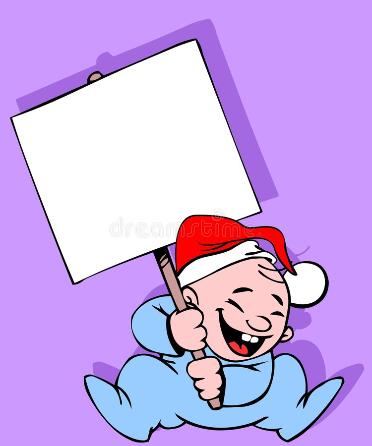 Baby with a banner. And Santa's cap royalty free illustration